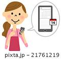 スマートフォンを触るエプロンの女性  21761219