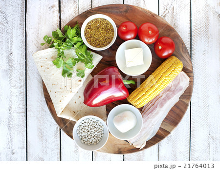 Ingredients for cooking Mexican Quesadilla wrap  21764013