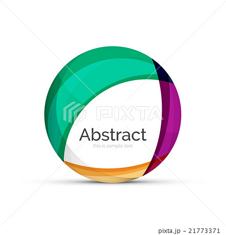 Circle logo. Transparent overlapping swirl shapesのイラスト素材 [21773371] - PIXTA