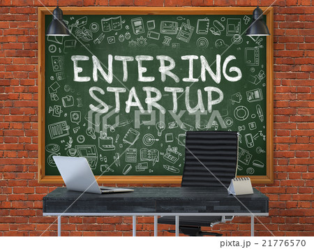 Hand Drawn Entering Startup on Office Chalkboard. 21776570