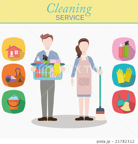 Cleaning staff characters with cleaning equipment 21782312