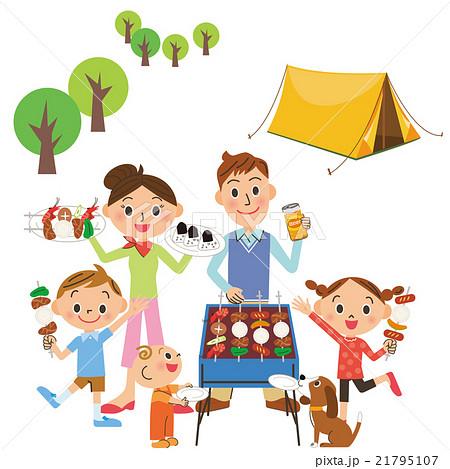 キャンプをする親子 21795107