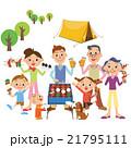 キャンプをする三世代家族 21795111