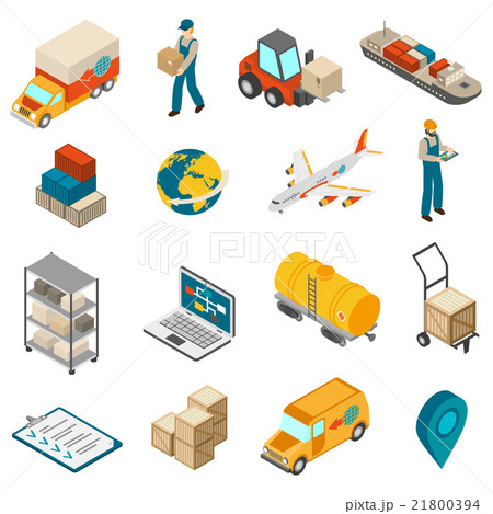 Logistics Transportation Symbols Isometric Iconsのイラスト素材 [21800394] - PIXTA