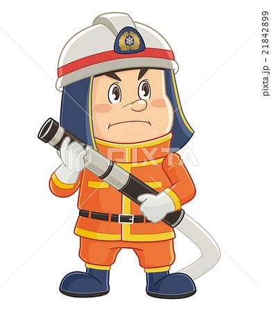 消防用ホースを構える消防士のコミカルでかわいい人物イラスト | いわたまさよし 21842899