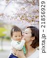 桜の咲く公園で娘を抱く母親 21856929