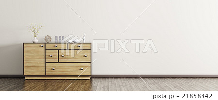 Modern interior with wooden dresser panorama 3d 21858842