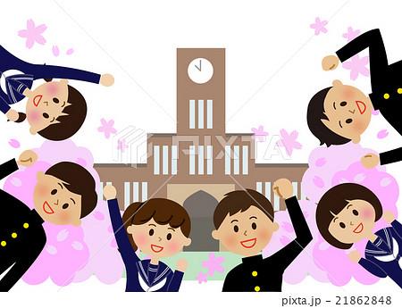 ガッツポーズの生徒たち 桜 校舎 21862848