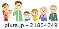 歯を磨く三世代家族 21864649