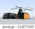 着陸した貨物ドローンと待機中のハイブリッドトラック 21877205
