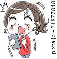 スマホとショックをうける女性のイラスト 21877848