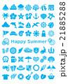 暑中見舞い 夏アイコン はがきサイズ 21885288