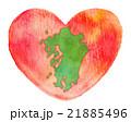 九州地方の地図とハート水彩画 21885496