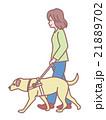 盲導犬を連れて歩く女性 21889702
