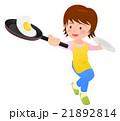 フライパンで目玉焼きを作る主婦 黄色エプロン 21892814