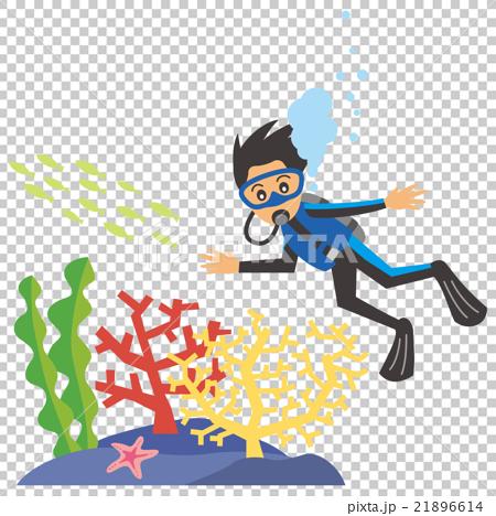 一個男人做水肺潛水的圖像插圖 21896614