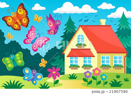 House and happy butterfliesのイラスト素材 [21907580] - PIXTA