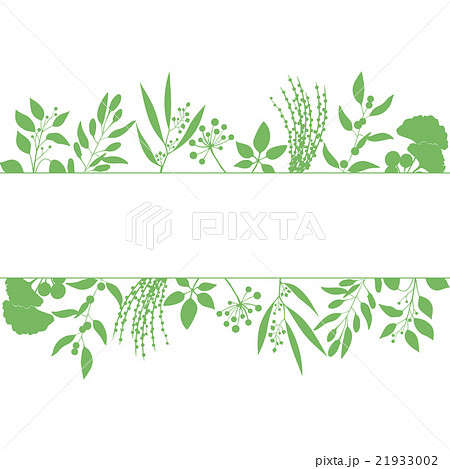 Green rectangle frame with collection of plantsのイラスト素材 [21933002] - PIXTA