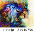 rainbow lion on beautiful colorful background with 21940750