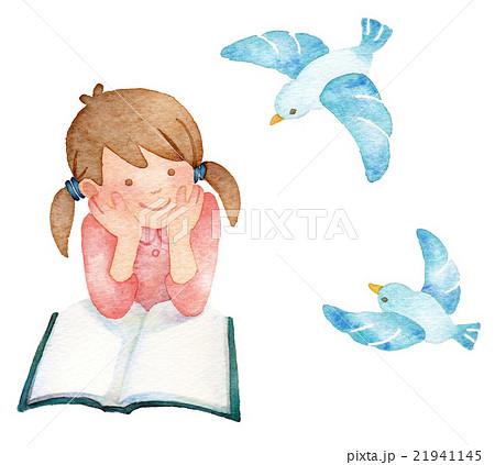 青い鳥と少女 21941145