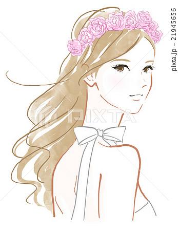 バラの花飾りの女性のイラスト素材 21945656 Pixta