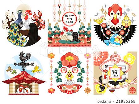 2017年酉年年賀状用イラストカットデザイン素材集6点 21955269