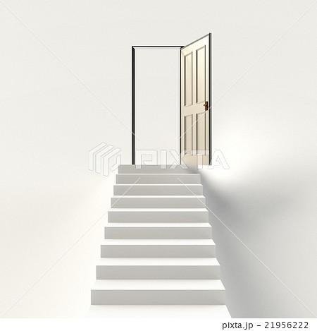 階段と開いた扉のイラストcgのイラスト素材 21956222 Pixta