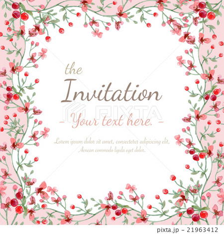 flower invitation cardのイラスト素材 21963412 pixta