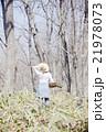 山菜採り 女性 林の写真 21978073