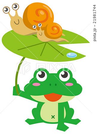 梅雨 カエルとでんでん虫のイラスト素材 21981744 Pixta