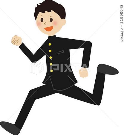 走る男子生徒 制服のイラスト素材 21990048 Pixta