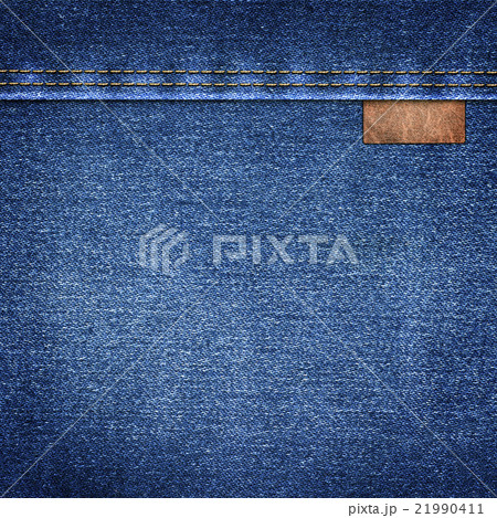 background denim with leather label close-upの写真素材 [21990411] - PIXTA