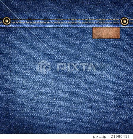 background  denim with leather label close-upの写真素材 [21990412] - PIXTA