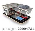 スマートフォンの上にある省エネスマートホーム。スマホアプリによるホームエネルギー管理コンセプト 22004781