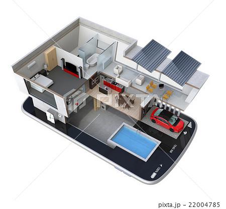 スマートフォンの上にある省エネスマートホーム。スマホアプリによるホームエネルギー管理コンセプト 22004785