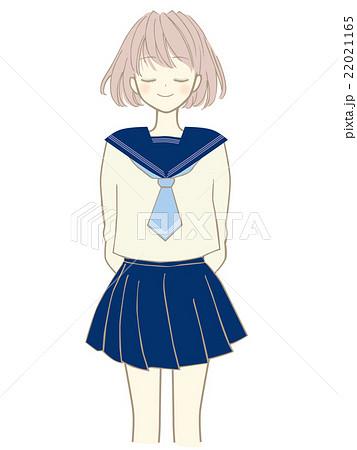 美少女のイラスト 萌え系アニメマンガタッチ 制服 セーラー服のイラスト素材
