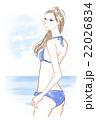水着 女性 海のイラスト 22026834