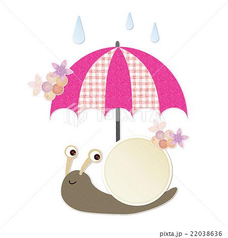 6月フレーム かたつむりと傘のイラスト素材 22038636 Pixta