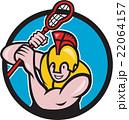 Gladiator Lacrosse Player Stick Circle Cartoon 22064157