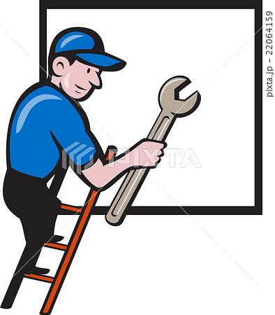 Handyman Climbing Ladder Window Cartoon 22064159