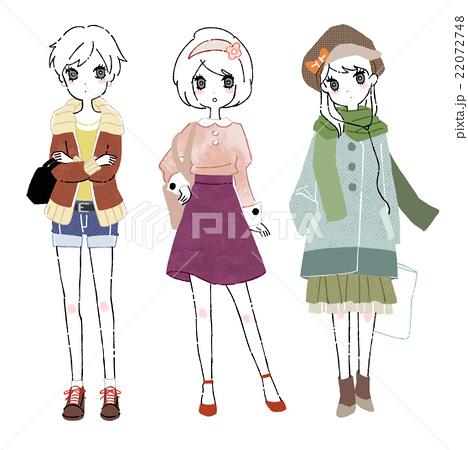 3人の女の子の全身イラストのイラスト素材 22072748 Pixta