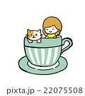 女の子と猫のフレーム 22075508