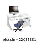 デスク デスクトップパソコン 机のイラスト 22085881