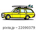 ワゴン イエロー サーフボードと犬 22090379