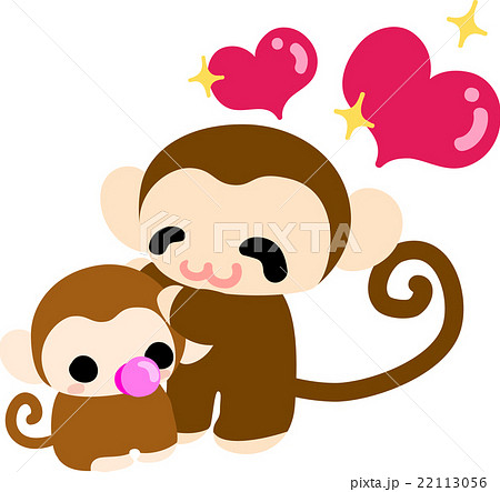 可愛いお猿の赤ちゃんと可愛いお猿さんのイラスト素材