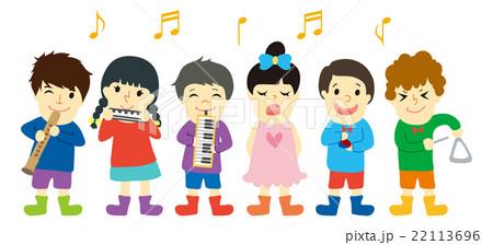 音楽会で演奏する子供たちのイラスト素材 22113696 Pixta
