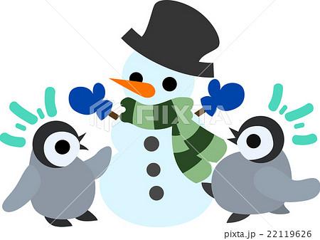 可愛い赤ちゃんペンギンとおしゃれな雪だるまのイラスト素材 22119626