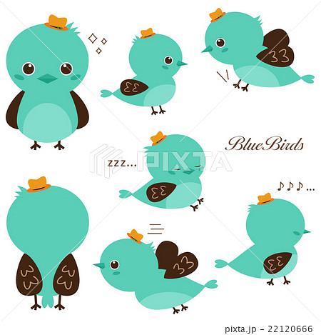 青い鳥 イラスト セットのイラスト素材 22120666 Pixta