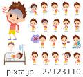 男の子 子供 病気のイラスト 22123110