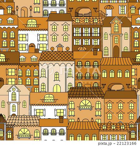 Old town vintage seamless pattern backgroundのイラスト素材 [22123166] - PIXTA